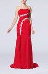 Elegant Column Sleeveless Chiffon Brush Train Appliques Homecoming Dresses