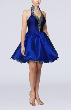 Royal Blue Cute Baby Doll Sleeveless Backless Short Party Dresses