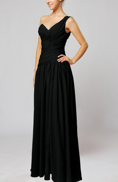 Black Plain Column One Shoulder Sleeveless Chiffon Ruching Wedding Guest Dresses