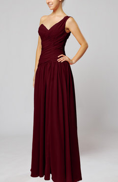 Burgundy Plain Column One Shoulder Sleeveless Chiffon Ruching Wedding Guest Dresses
