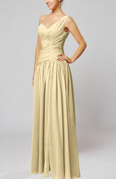 Champagne Plain Column One Shoulder Sleeveless Chiffon Ruching Wedding Guest Dresses