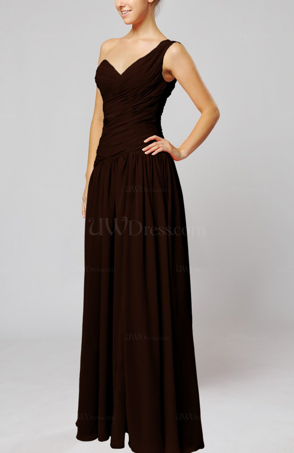 Chocolate brown plain column one shoulder sleeveless for Brown dresses for wedding guest