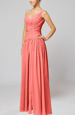 Coral Plain Column One Shoulder Sleeveless Chiffon Ruching Wedding Guest Dresses