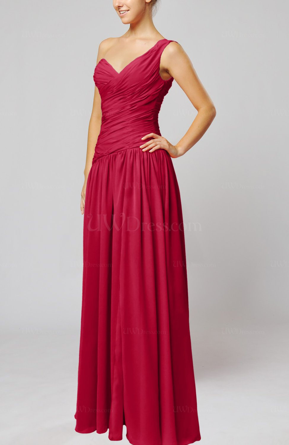 Dark red plain column one shoulder sleeveless chiffon for One shoulder dress for wedding guest