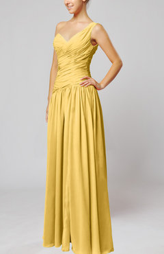 Gold Plain Column One Shoulder Sleeveless Chiffon Ruching Wedding Guest Dresses