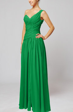 Green Plain Column One Shoulder Sleeveless Chiffon Ruching Wedding Guest Dresses