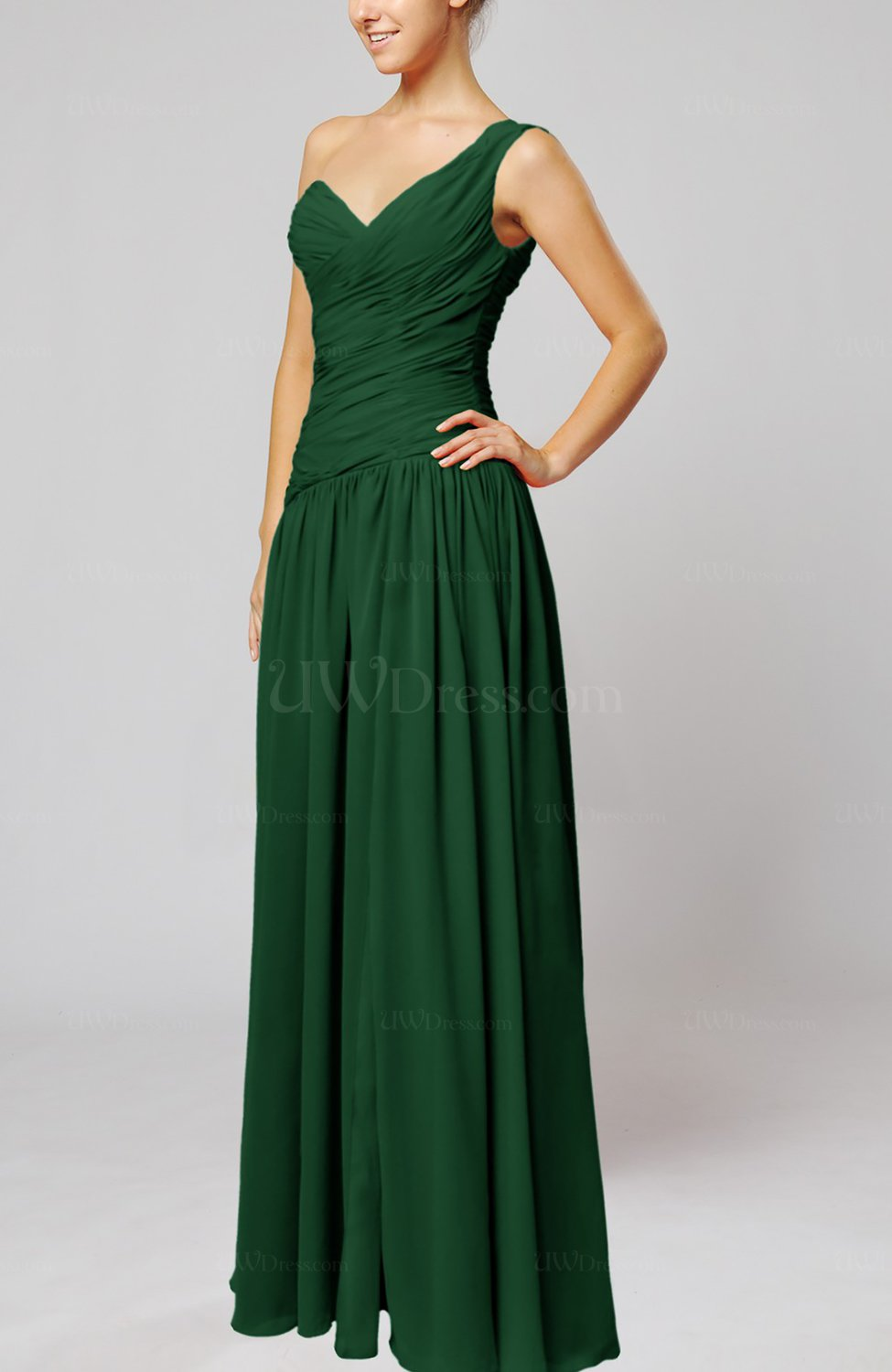 Hunter green plain column one shoulder sleeveless chiffon for One shoulder dress for wedding guest