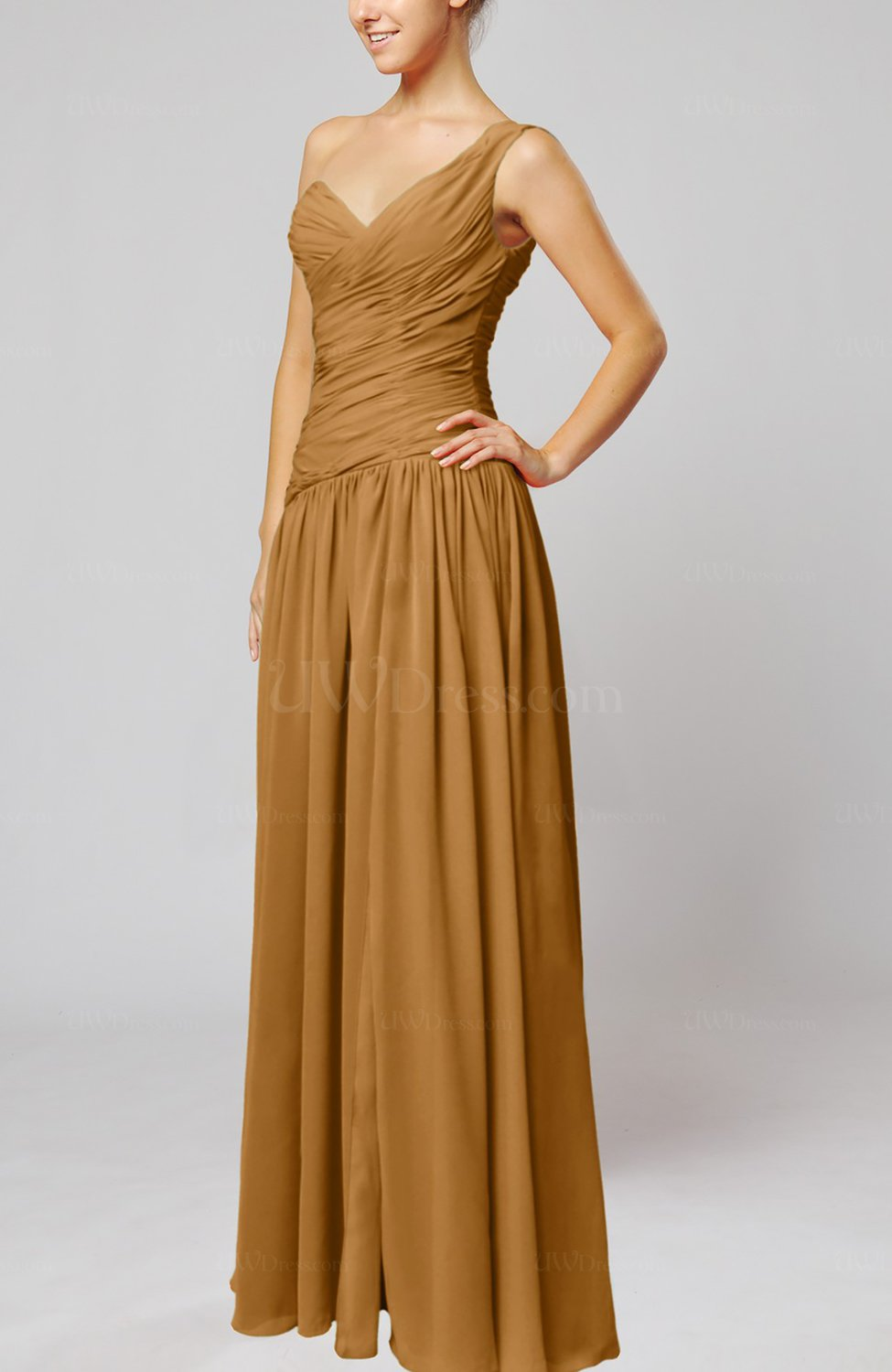 Light brown plain column one shoulder sleeveless chiffon for Brown dresses for wedding guest