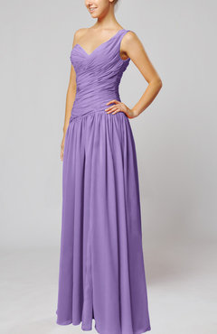 Lilac Plain Column One Shoulder Sleeveless Chiffon Ruching Wedding Guest Dresses