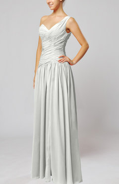 Off White Plain Column One Shoulder Sleeveless Chiffon Ruching Wedding Guest Dresses