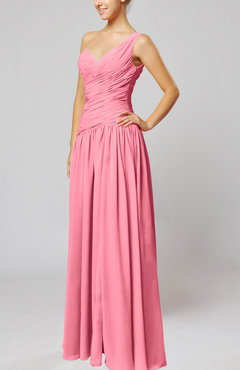 Pink Plain Column One Shoulder Sleeveless Chiffon Ruching Wedding Guest Dresses