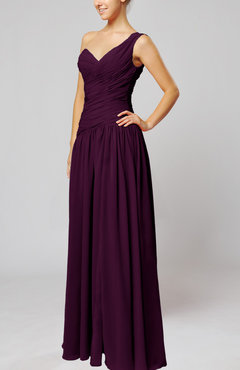 Plum Plain Column One Shoulder Sleeveless Chiffon Ruching Wedding Guest Dresses