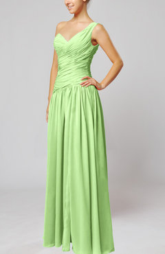 Sage Green Plain Column One Shoulder Sleeveless Chiffon Ruching Wedding Guest Dresses