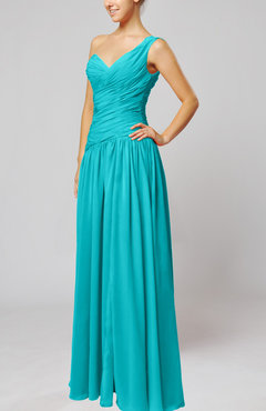 Teal Plain Column One Shoulder Sleeveless Chiffon Ruching Wedding Guest Dresses