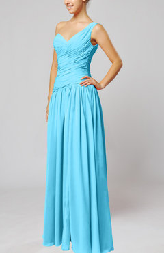 Turquoise Plain Column One Shoulder Sleeveless Chiffon Ruching Wedding Guest Dresses