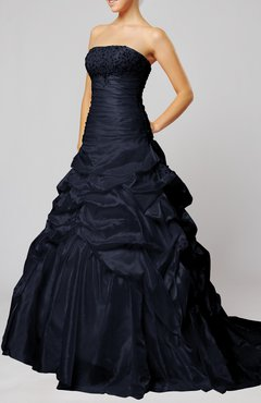 Navy Blue Lace Dress on Navy Blue Classic Church Strapless Sleeveless Lace Up Taffeta Chapel