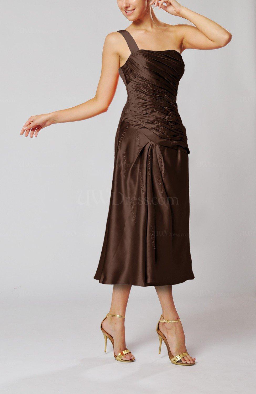 Chocolate Brown Elegant Column One Shoulder Sleeveless Tea Length ...