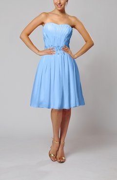 Light Blue Cute Garden A-line Sleeveless Knee Length Paillette Bridal Gowns