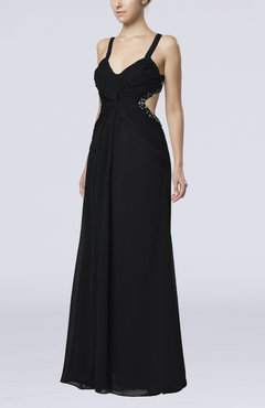 Black Sexy Thick Straps Sleeveless Chiffon Floor Length Paillette Prom Dresses