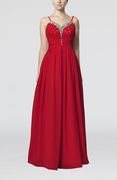 Red Elegant Spaghetti Sleeveless Zip up Chiffon Floor Length Homecoming Dresses