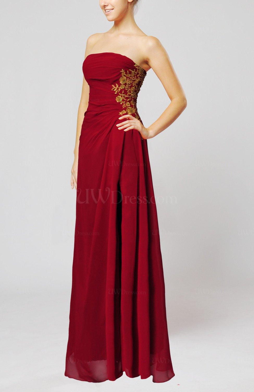 Dark Red Elegant Sheath Strapless Zip Up Appliques Prom