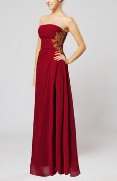 Dark Red Elegant Sheath Strapless Zip up Appliques Prom Dresses