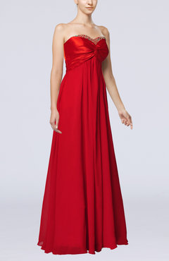 Red Classic Empire Sweetheart Chiffon Pleated Bridesmaid Dresses