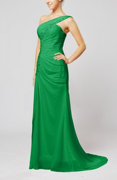 Green Elegant Column Zipper Chiffon Sweep Train Draped Evening Dresses