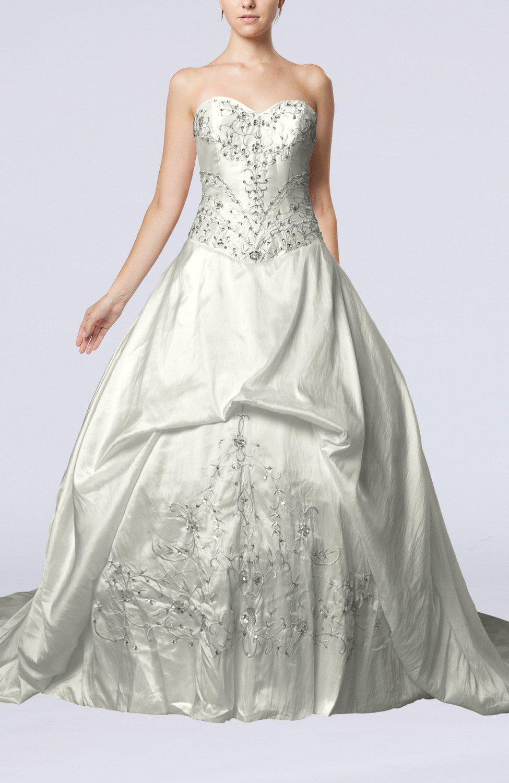 White elegant outdoor princess sweetheart taffeta chapel for Chapel train wedding dress