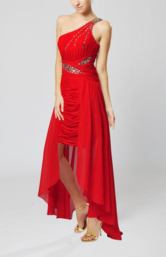 Red Sexy One Shoulder Sleeveless Floor Length Ruching Prom Dresses