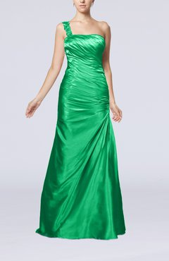 Green Gorgeous Column Sleeveless Zip up Silk Like Satin Floor Length Evening Dresses