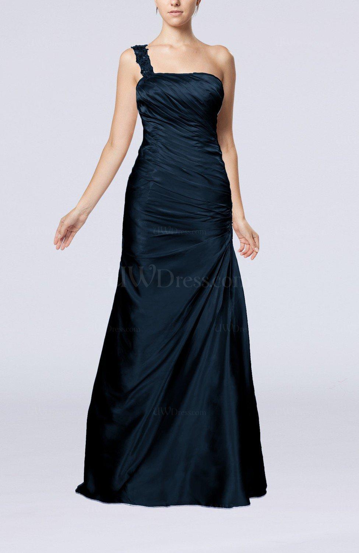 Navy Blue Gorgeous Column Sleeveless Zip up Silk Like Satin Floor ...