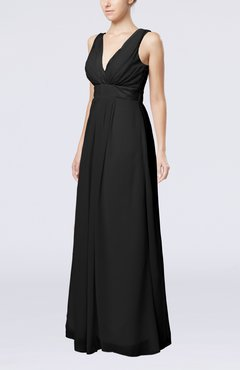 Black Plain V-neck Zip up Chiffon Sash Bridesmaid Dresses