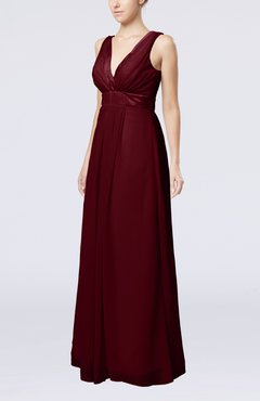 Burgundy Plain V-neck Zip up Chiffon Sash Bridesmaid Dresses