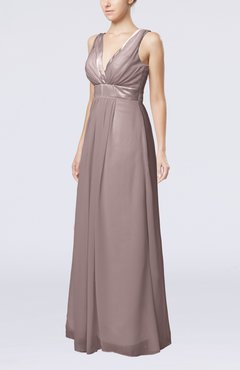 Cameo Plain V-neck Zip up Chiffon Sash Bridesmaid Dresses