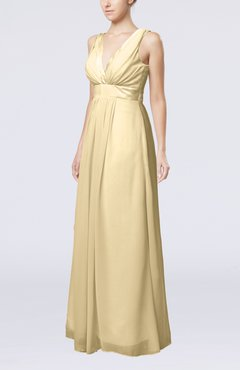Champagne Plain V-neck Zip up Chiffon Sash Bridesmaid Dresses