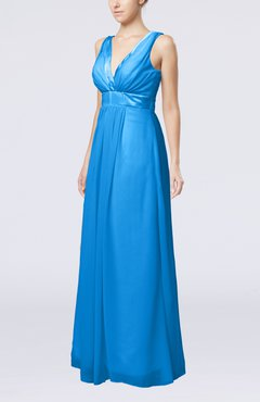 Cornflower Blue Plain V-neck Zip up Chiffon Sash Bridesmaid Dresses