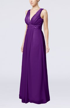 Dark Purple Plain V-neck Zip up Chiffon Sash Bridesmaid Dresses
