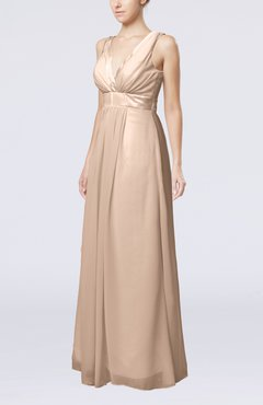 Dusty Rose Plain V-neck Zip up Chiffon Sash Bridesmaid Dresses