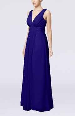 Electric Blue Plain V-neck Zip up Chiffon Sash Bridesmaid Dresses