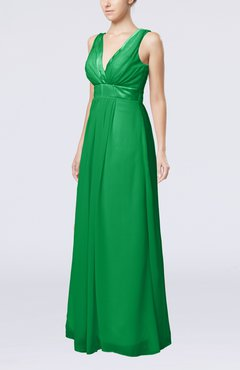 Green Plain V-neck Zip up Chiffon Sash Bridesmaid Dresses