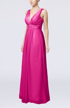 Hot Pink Plain V-neck Zip up Chiffon Sash Bridesmaid Dresses