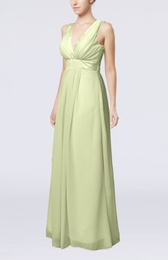 Ivory Plain V-neck Zip up Chiffon Sash Bridesmaid Dresses