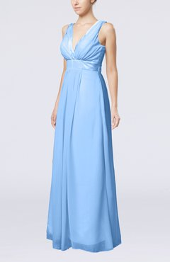 Light Blue Plain V-neck Zip up Chiffon Sash Bridesmaid Dresses