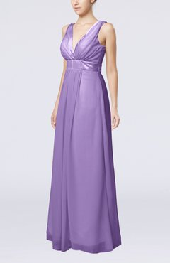 Lilac Plain V-neck Zip up Chiffon Sash Bridesmaid Dresses