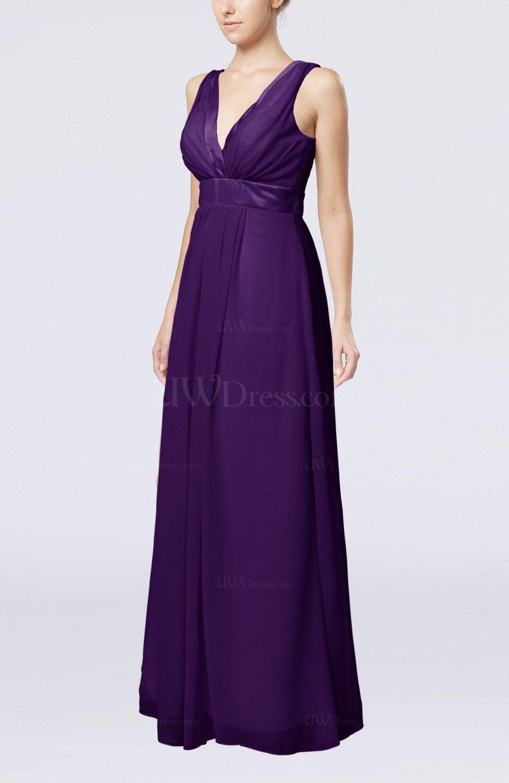Royal Purple Plain V Neck Zip Up Chiffon Sash Bridesmaid