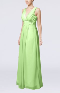 Sage Green Plain V-neck Zip up Chiffon Sash Bridesmaid Dresses