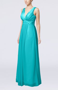 Teal Plain V-neck Zip up Chiffon Sash Bridesmaid Dresses