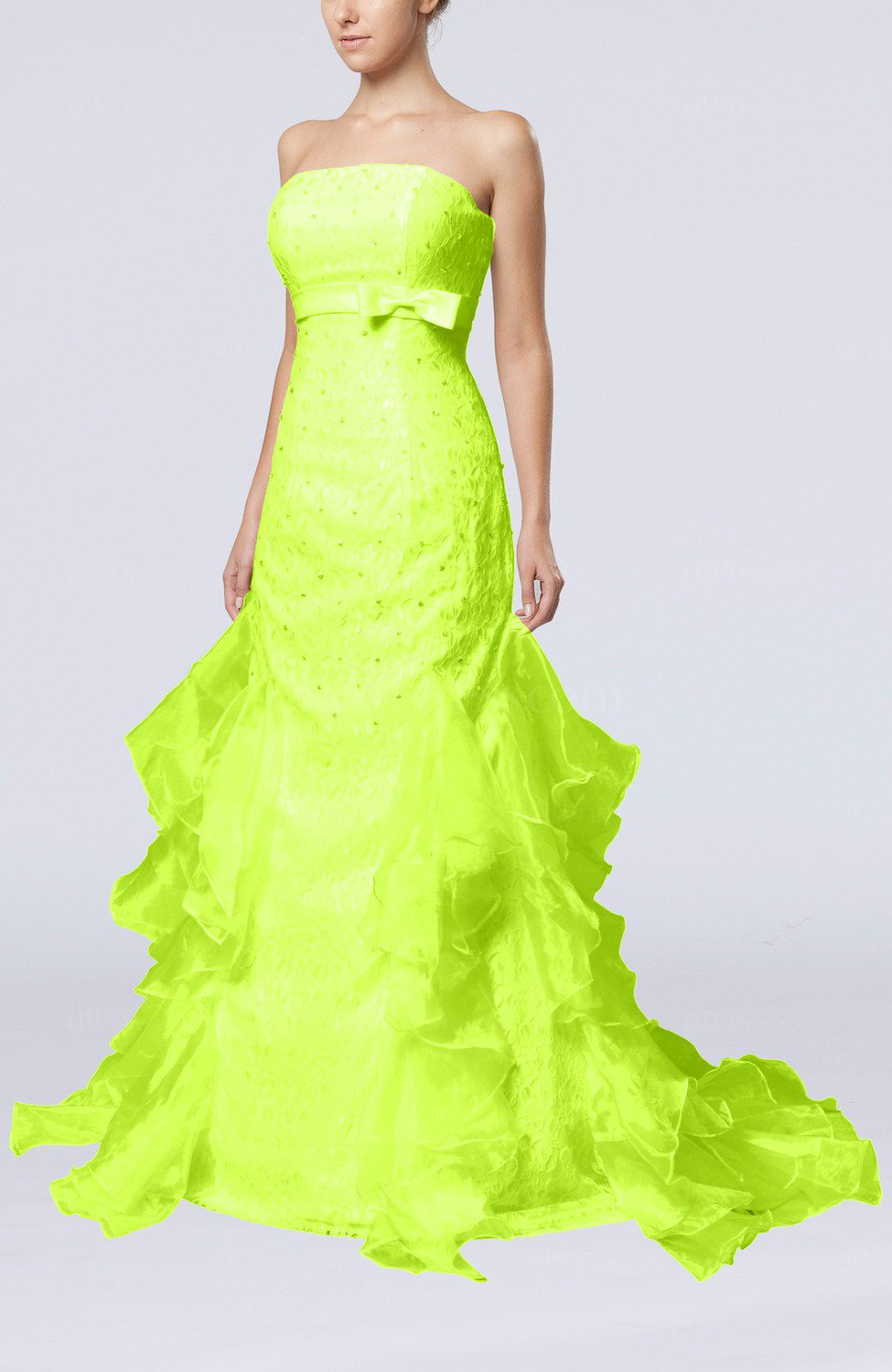 Lime Green Cinderella Hall Column Backless Satin Court