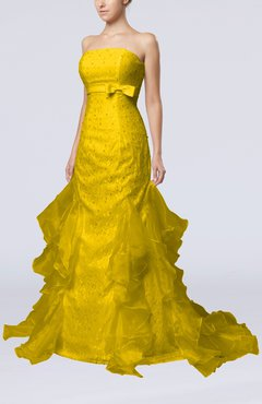 Yellow Cinderella Hall Column Backless Satin Court Train Bridal Gowns